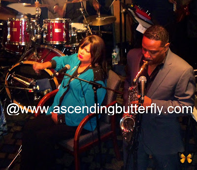 Angela Bofill on cowbell and Kim Waters on Saxophone on the Smooth Jazz Encore Cruise October 2013