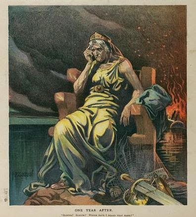 "Illustration shows an old and haggard ""Justice"" sitting in a chair on a rock in the East River, cobwebs have grown over her sword, scales, and an ""Indictment""; in the background, the steamship General Slocum is engulfed in flames (it burned on June 15th 1904 with a loss of over 1,000 lives). from LOC.gov"