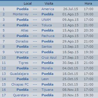 Calendario Puebla Apertura 2015 Futbol Mexicano