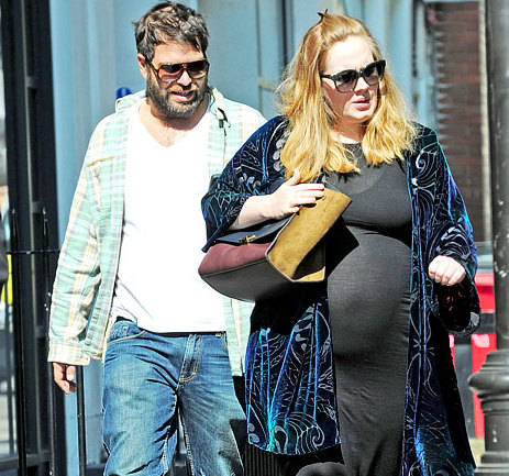 Clary Fisher http://www.bellyitchblog.com/2012/09/bump-watch-adele-running-errands-in.html