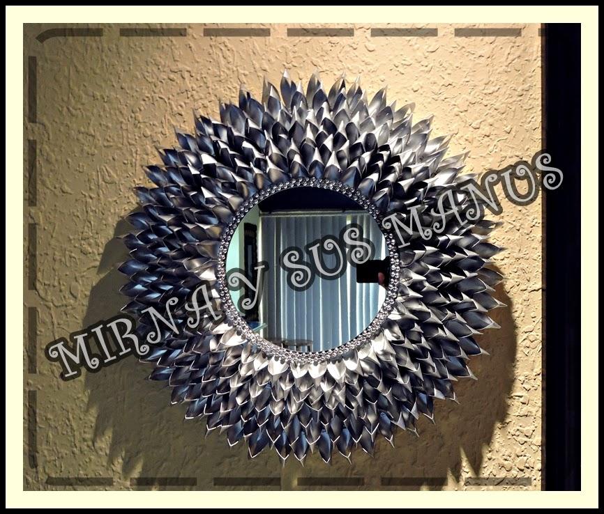 Manualidades mirna y sus manus reciclaje decorando un - Como se hacen los espejos ...
