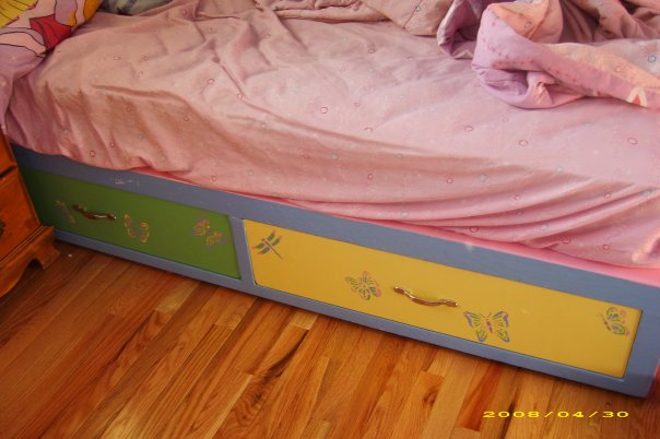 painted and stenciled captains bed little girl