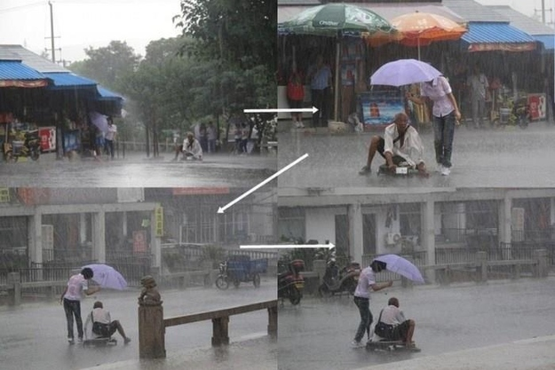 26 Moments That Will Restore Your Faith In Humanity Again - This woman kept a homeless man dry during a downpour
