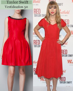Taylor Swift look red dress hotel london christmas as seen on visto en famosa abrigo clunch