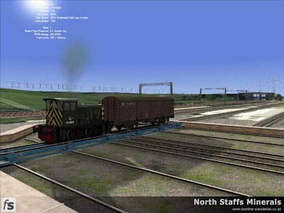 Fastline Simulation - North Staffs Minerals: Class 02 with VDA van at Stoke Wagon Repairs.