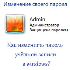 Как изменить пароль учетной записи в windows