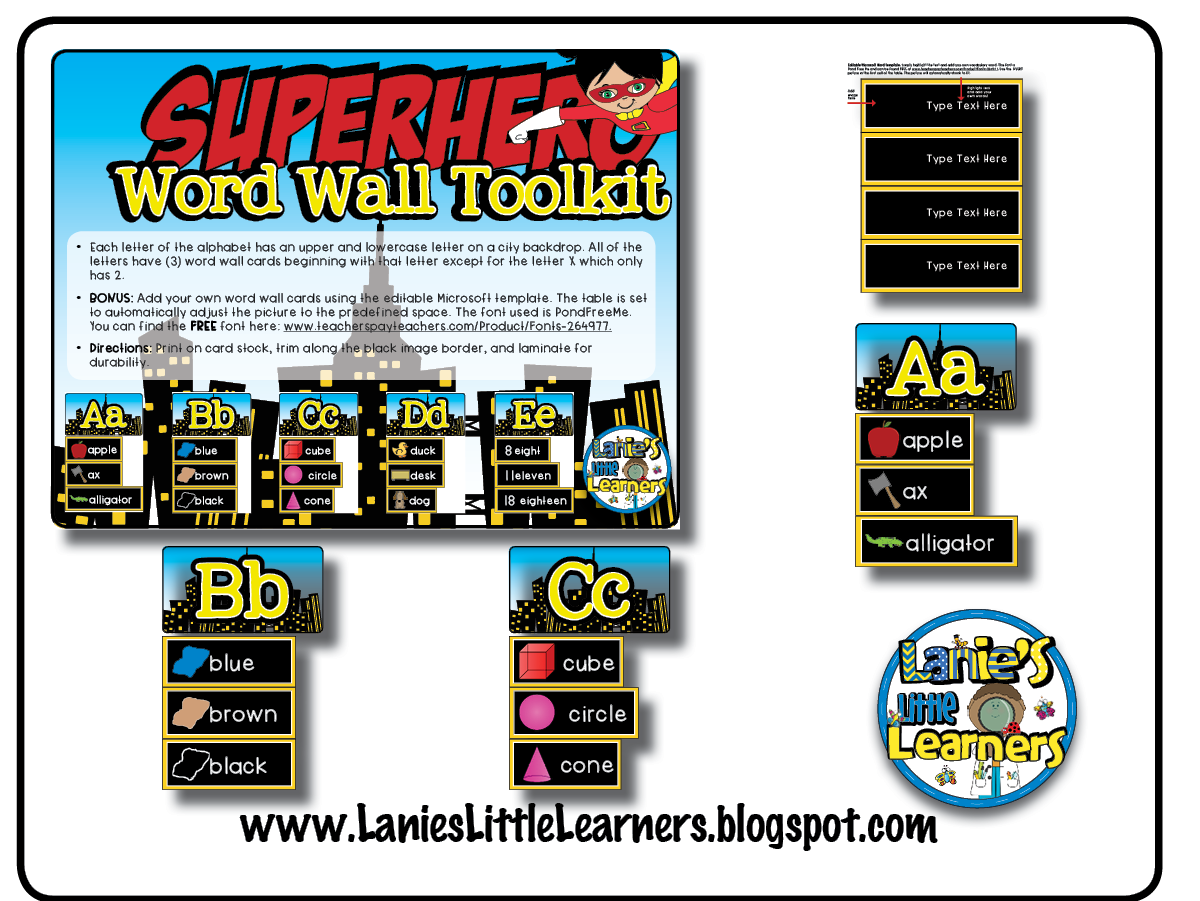 photograph regarding Printable Word Wall Letters identified as Lanies Tiny Students: Phrase Wall Toolkit Superhero Topic