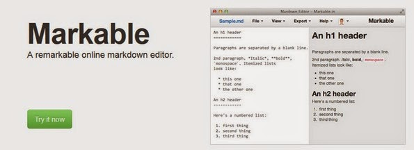 Markable web based markdown editor