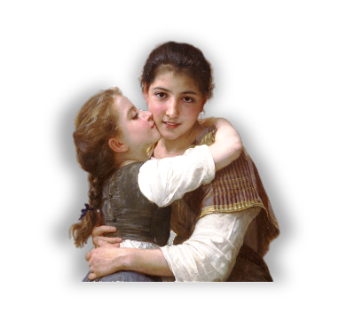 niñas vintage Bouguereau formato png