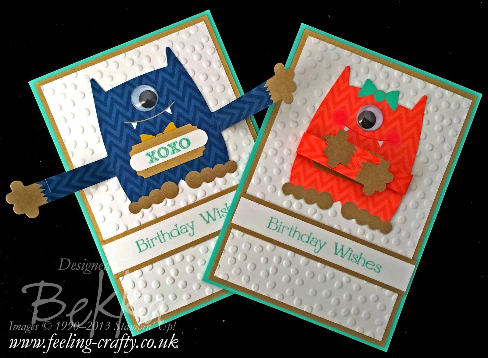 Monster Hug Cards by UK based Stampin' Up! Demonstrator Bekka Prideaux - check out her blog here for new ideas every day
