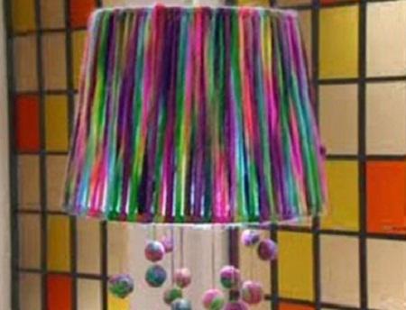 L mparas con lana reciclada ideas - Lamparas para hacer en casa ...