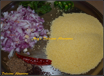Ingredients for Couscous Upma
