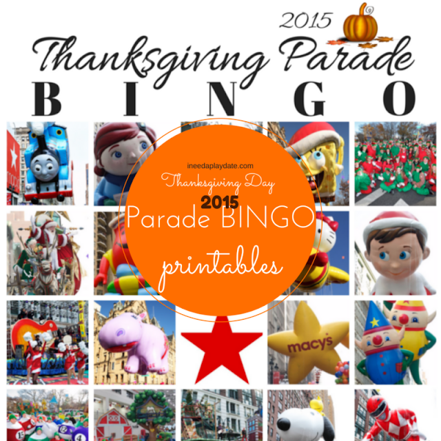 Thanksgiving Day Parade Bingo for 2015