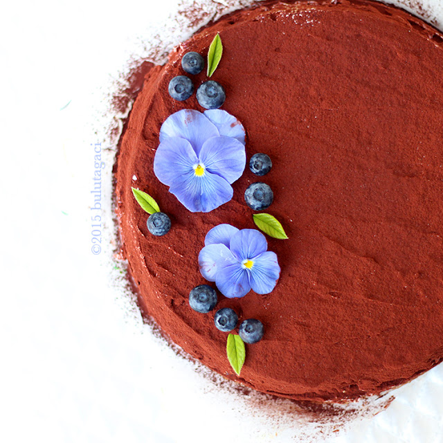 blueberry, nectarine, peach psitachio flourless chocolate nemesis cake