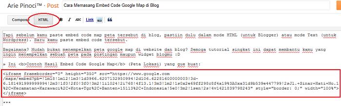 Memasang Embed Code Google Map