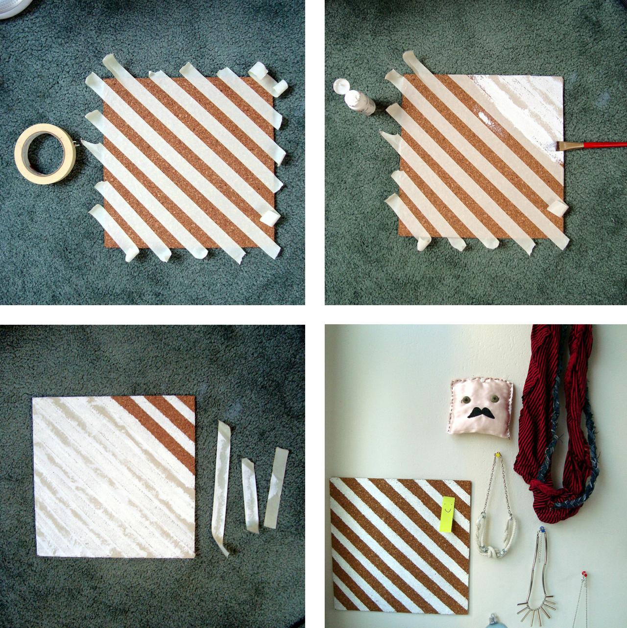Diy corkboard diagonal striped wall decor - Wall decoration ideas tumblr ...