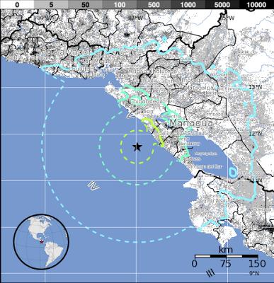 Epicentro terremoto 6,6 grados en la costa de Nicaragua, el 15 de Junio 2013