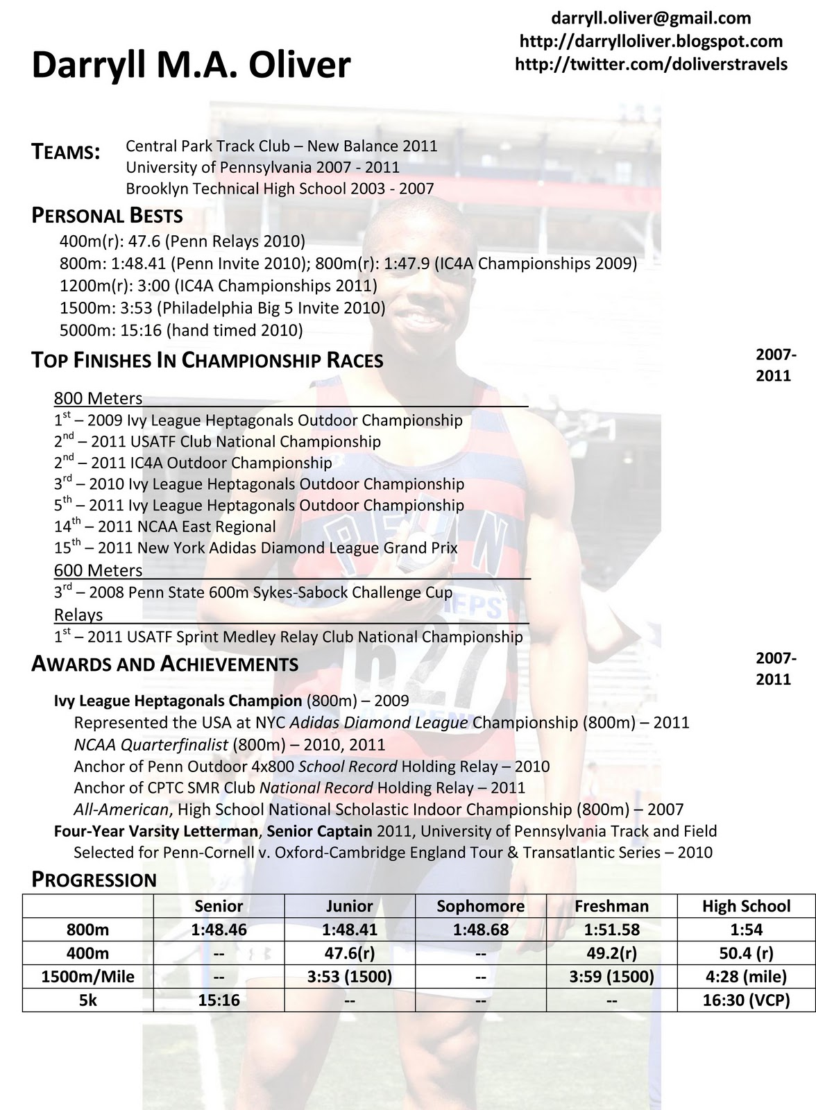 darryll oliver  athletic resume