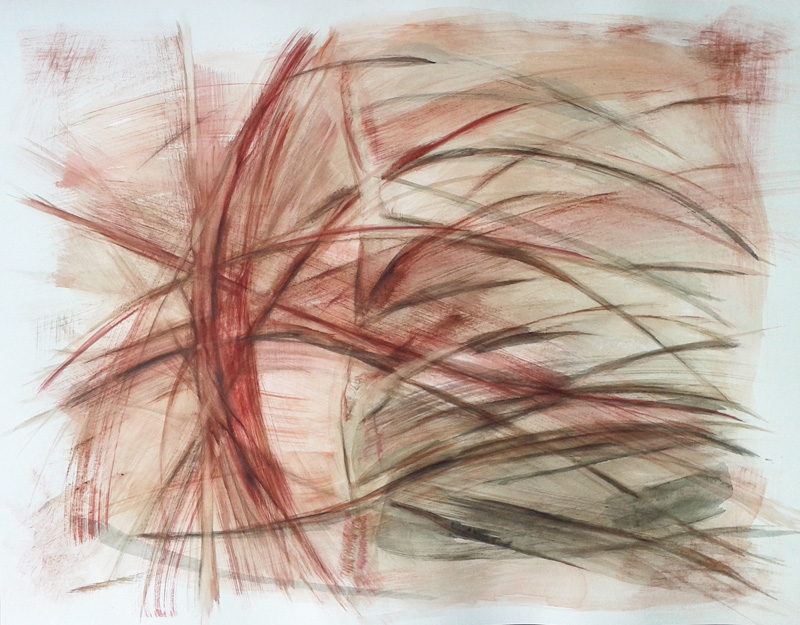 abstract gestural watercolor painting, conceptual modern contemporary art, brushstrokes, rust and earth tones on white, ribcage painting,