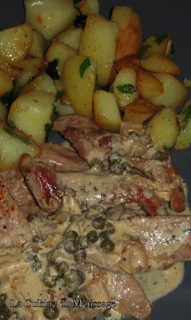aiguillettes de canard sauce poivre vert
