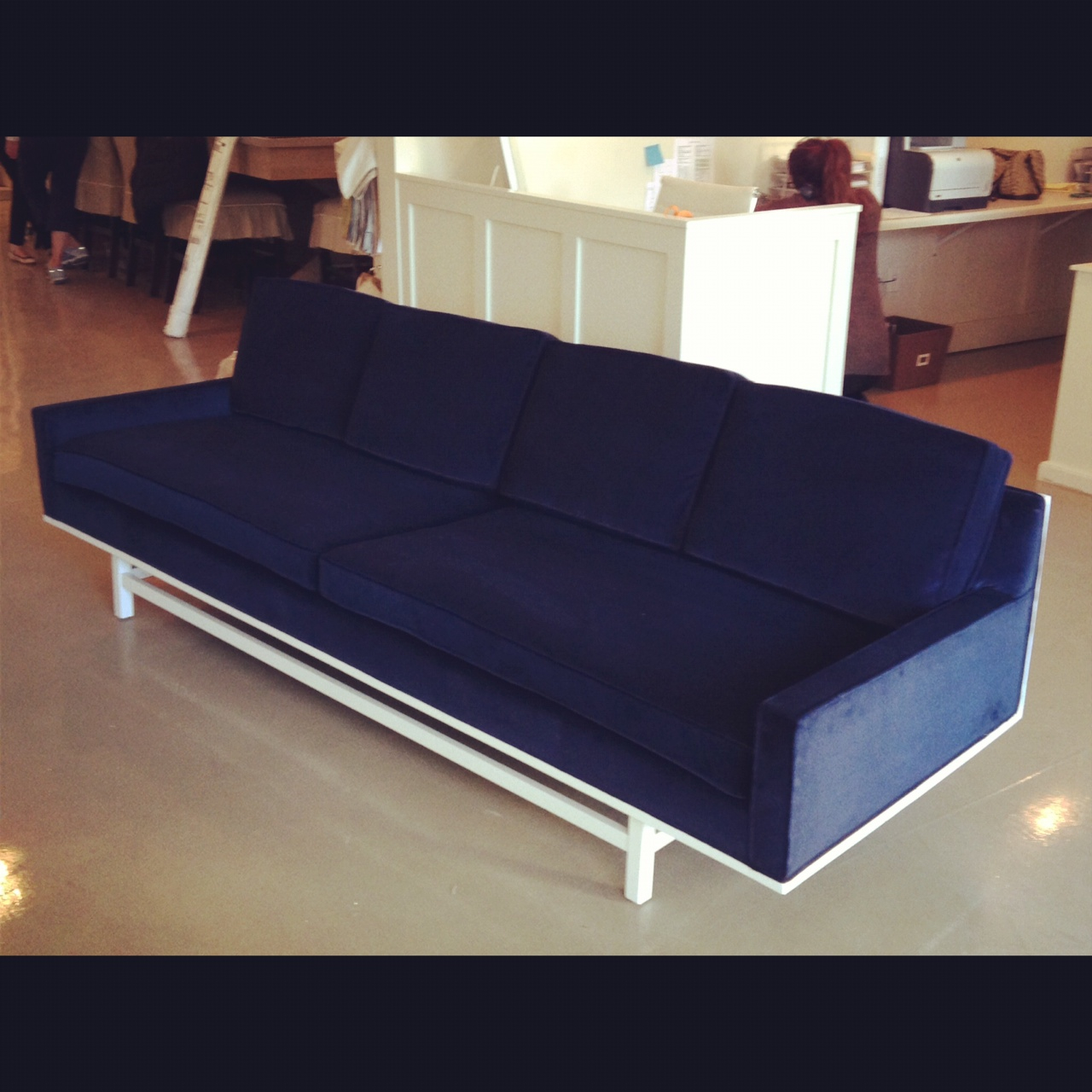 White gold blue velvet sofa for sale for Blue sofas for sale