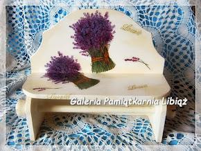 Wieszak na ręczniki papierowe z półką Kwiaty Lawenda Bukiet decoupage