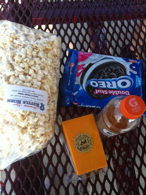 oreos popcorn cheese and gatoraid