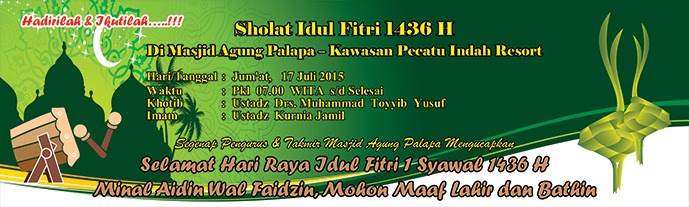 Desain Banner Hari Raya Idul Fitri Oleh Masjid Agung Palapa