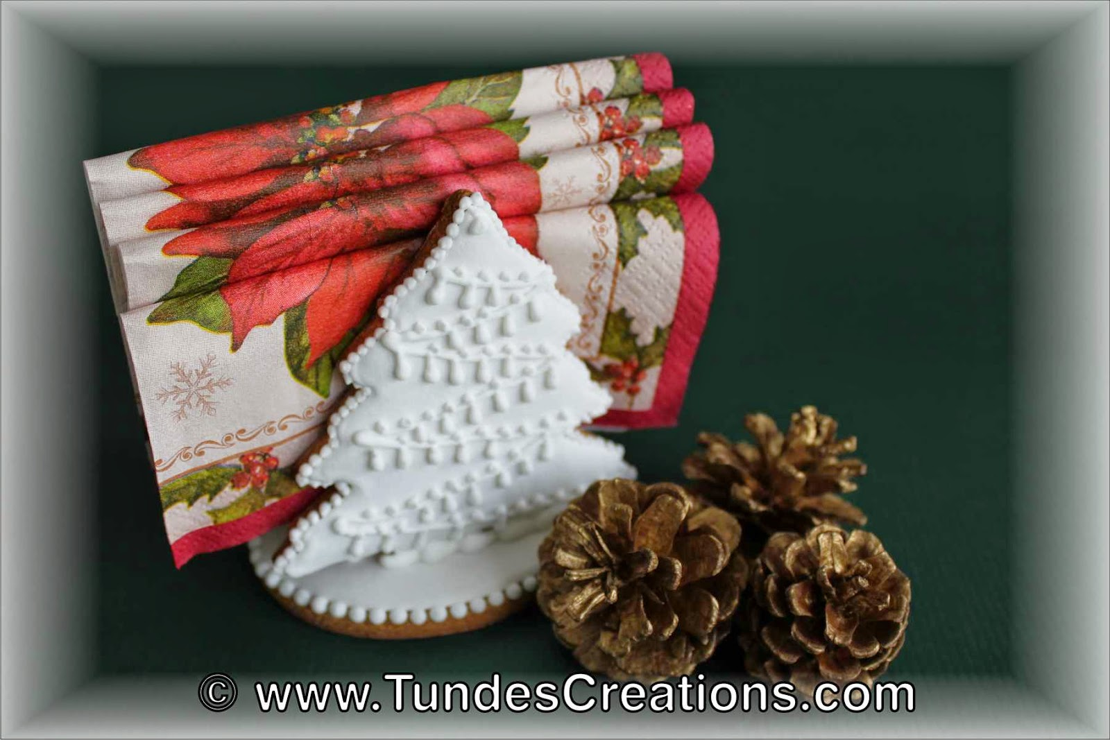 White Gingerbread Christmas Napkin Holder