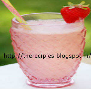 strawberry lassi with mint leaves