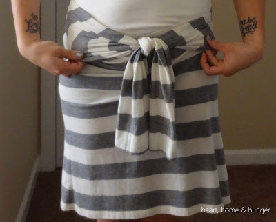 transforming a long sleeve shirt into a skirt