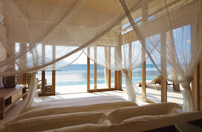 Source: Six Senses Hotels Resorts Spas. The master bedroom of an oceanfront three-bedroom villa at Six Senses Con Dao, Vietnam.