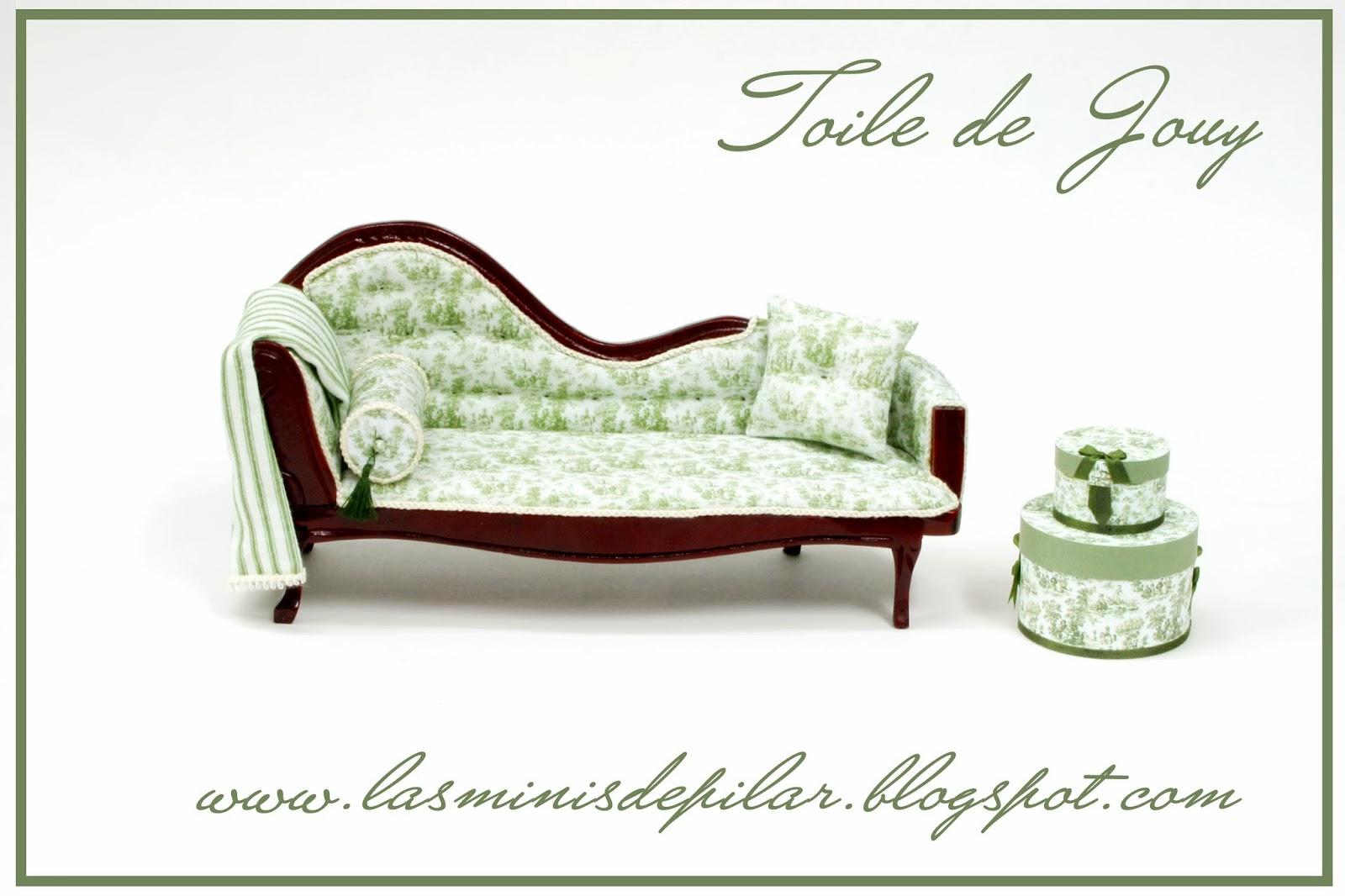 Pilar alen miniaturas descanso en toile de jouy for Chaise longue en toile