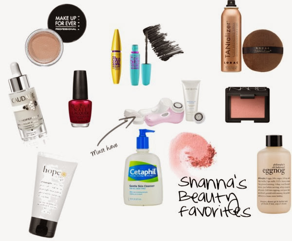 Make up Forever Concealer, 2. Vinoperfect radiance serum, 3. Philosophy face moisturizer, 4. OPI nail polish, 5. Cetaphil skin cleanser, 6. Clarisonic, 7. Sephora tanner, 8. Nars blush, 9. Philosophy body wash, 10. Maybelline Mascara