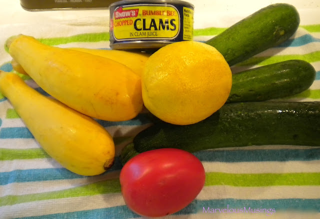 photo of farm stand finds can of clam, lemon, zucchini, yellow squash, tomato/marvelousmusings