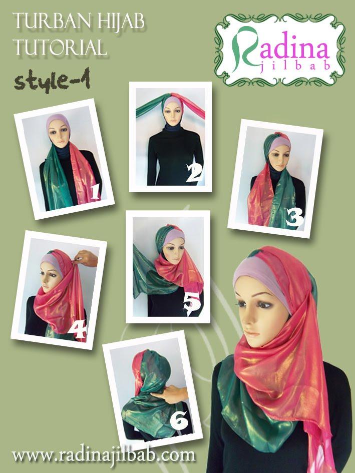 Cara memakai kerudung gaya turban