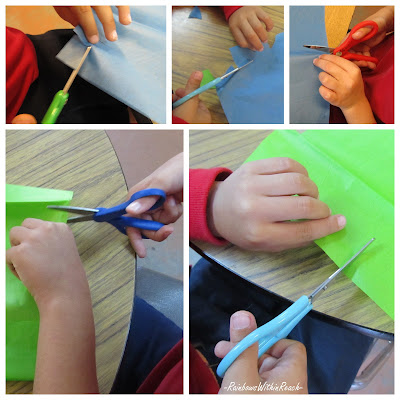 photo of: young hands cutting with scissors, Fine Motor work with scissors, tissue paper Art, Earth Day