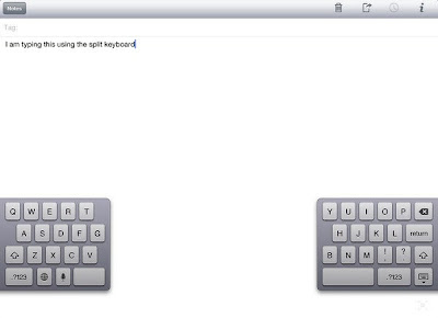 Split keyboard on the iPad