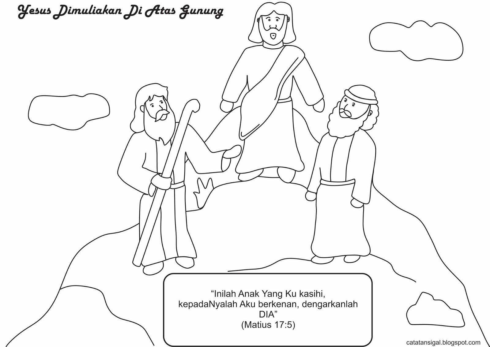 """Mewarnai Gambar """"Yesus Dimuliakan Di Atas Gunung"""""""