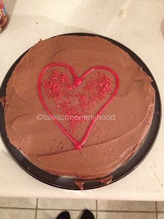 Chocolate cake with red heart