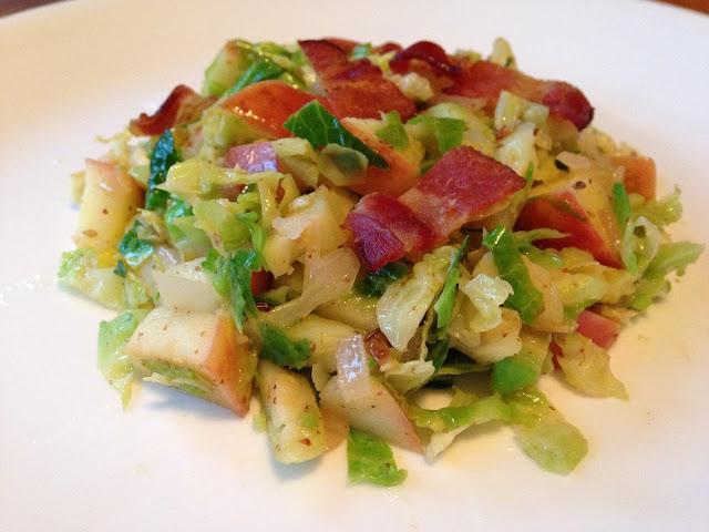 Worthy Pause Paleo Food Blog: Maple Dijon Bacon Apple Brussels Sprouts Slaw