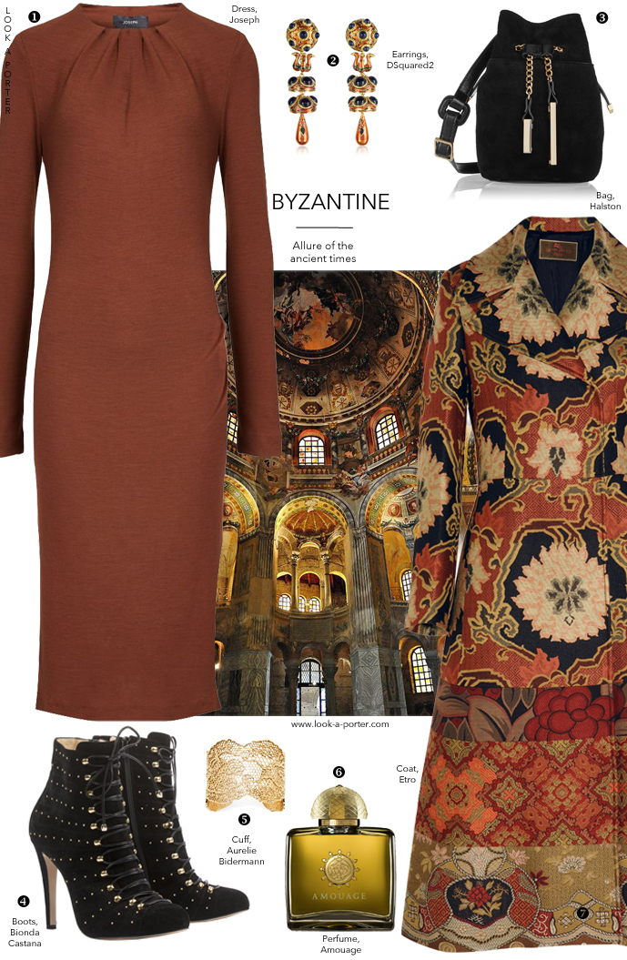 Styling Etro coat with Joseph dress, Bionda Castana booties and Halston bag via www.look-a-porter.com style & fashion blog