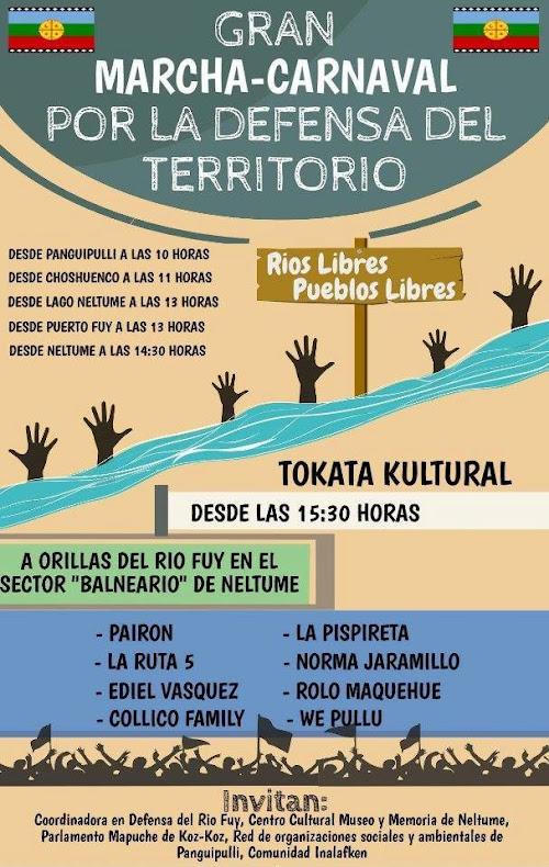 PANGUIPULLI: GRAN MARCHA CARNAVAL, POR LA DEFENSA DEL TERRITORIO