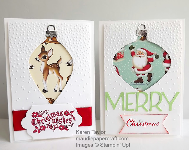 Stampin' Up! Delicate ornaments thinlits, Home for Christmas DSP
