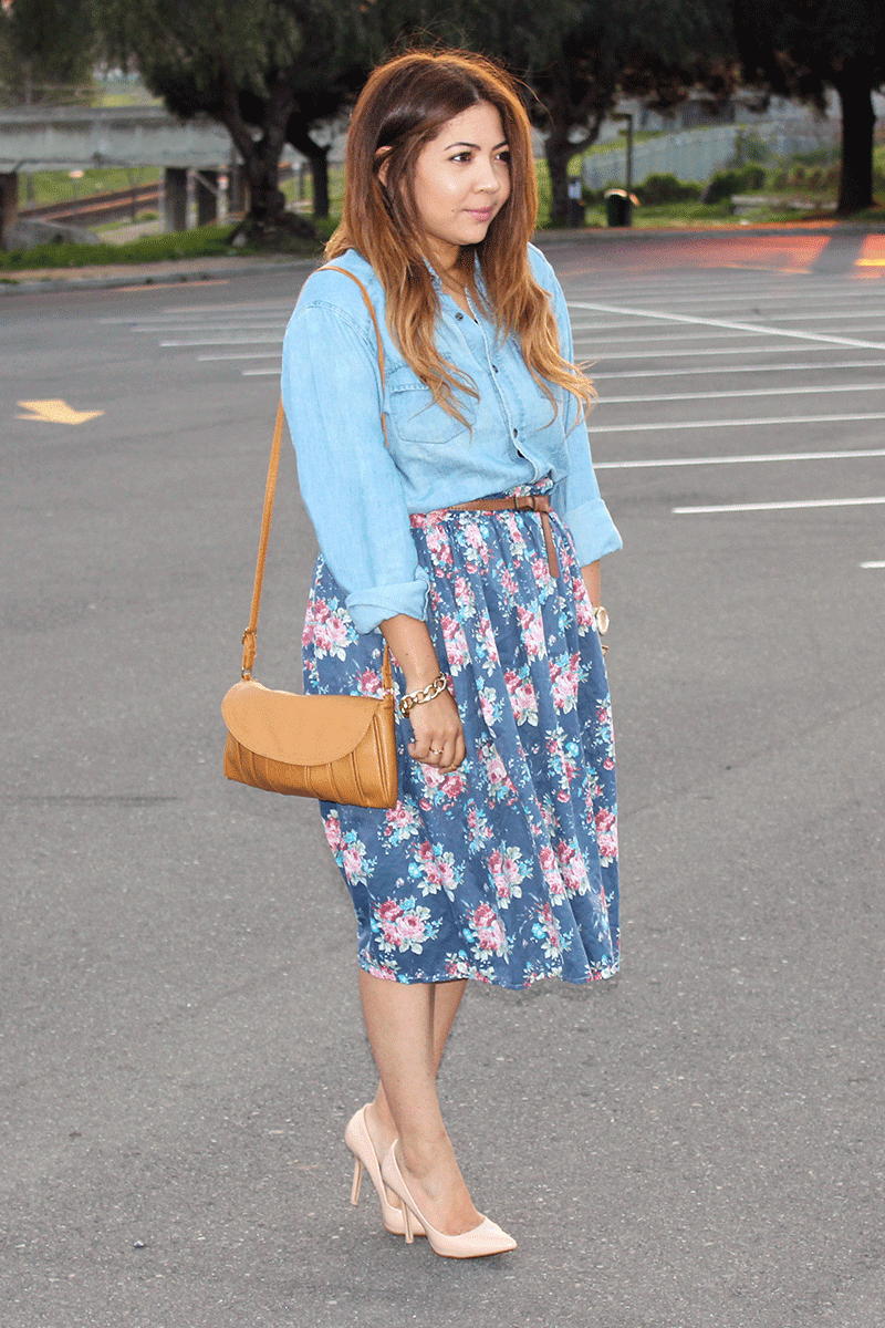 floral midi skirt ootd, midi skirt, spring fashion, summer fashion, denim shirt and midi skirt, fashion blogger cape town, cape town fashion blogger, midi skirt ootd
