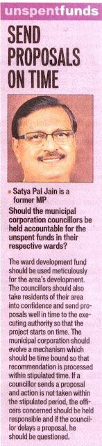 Should the Municipal Corporation councillors be held accountable for the unspent funds in their respective wards? - Satya Pal Jain, Former MP