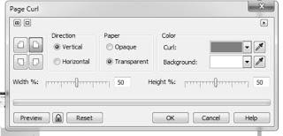 pengaturan efek page curl