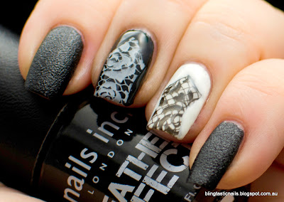 Nails Inc Leather Noho with black and white lace stamping