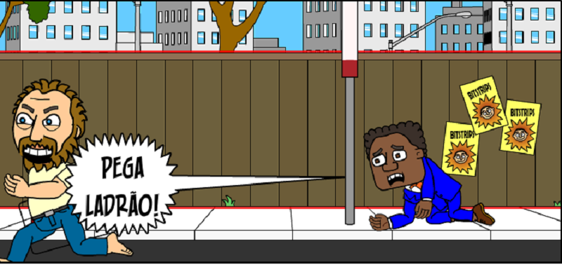 Homem negro com terno azul caído na calçada gritando: Pega ladrão!, enquanto homem braco e barbudo com expressão maligna foge correndo. Ao fundo se vê uma cerca de madeira.