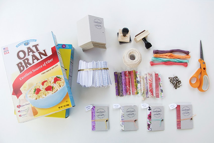 My diy cereal box notebook business cards ink pad hole puncher notebook paper scrapbookdecorative paper glue stick stapler paper fastener embroidery floss optional mini hanging ccuart